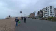 Winter Seaside Promenade Stock Footage