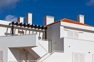 Stock Photo of white resort apartment house in portugal