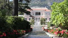 Garden in Villa Ephrussi de Rothschild, Saint-Jean-Cap-Ferrat, French Riviera - stock footage