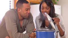 Black couple eating pasta Stock Footage