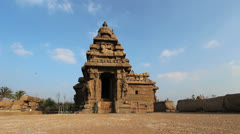 India Tamil Nadu Mahabalipuram Shore Temple storied tower against sky 15 Stock Footage