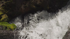 Water pours from beneath rocks onto log Stock Footage