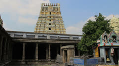 India Tamil Nadu Kanchipuram Ekambareswarar temple shrine and gopuram 6 Stock Footage