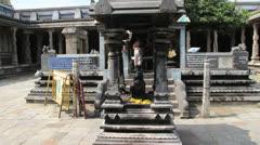 India Tamil Nadu Kanchipuram Ekambareswarar temple shrine and tree 5 Stock Footage