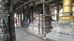 India Tamil Nadu Kanchipuram temple with cow and people in robes 1 Stock Footage