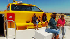 Passengers On Front Deck Of Aqualink Boat- Long Beach CA Stock Footage