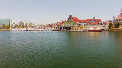 Pan Rainbow Village, Rainbow Harbor, Downtown Long Beach Stock Footage