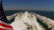 Wake Of Large Aqualink Boat Or Yacht Heading Out To Sea Stock Footage