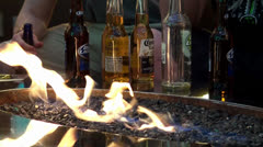 Beer bar with open fire at Fremont Street, Las Vegas, Nevada. Stock Footage