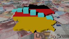 Germany map flag with graph on Euros animation Stock Footage