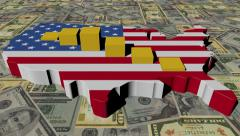 USA map flag with graph on dollars animation Stock Footage