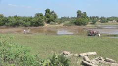 India Tamil Nadu rice paddies across field 2 Stock Footage