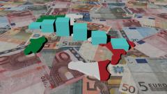Italy map flag with graph on Euros animation Stock Footage