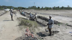 India Tamil Nadu work crew digging ditch 4 Stock Footage