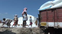 India Tamil Nadu full salt sacks on truck and workers 2 Stock Footage