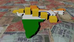 India map flag with graph on Rupees animation Stock Footage