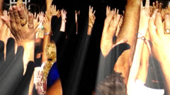 CROWD with HANDS RAISED Stock Footage