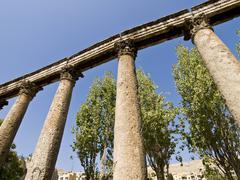 Detail of Roman amphitheater in Amman, Jordan - stock photo