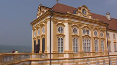 MELK, AUSTRIA Gallery of Benedictine Abbey Stift Melk  tilt up -  bell tower Stock Footage