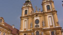 MELK, AUSTRIA - courtyard Benedictine Abbey Stift Melk - tilt up Stock Footage