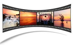 3d film strip with nice pictures of andaman scene - stock illustration