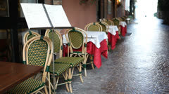 Small Italian restaurant with menu Stock Footage