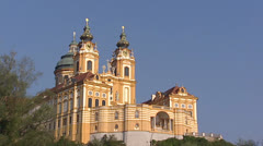 MELK, AUSTRIA - wide shot + tilt up Baroque front of Benedictine Abbey Stock Footage