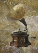 Retro gramofoni vuosikerta taustalla Kuvituskuvat