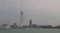 Portsmouth Harbour Spinnaker Tower Stock Footage