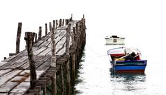 boat and wood jetty processed in old style - stock photo