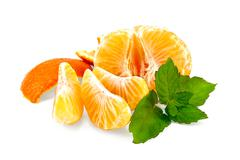 Mandarin purified with mint and slices Stock Photos