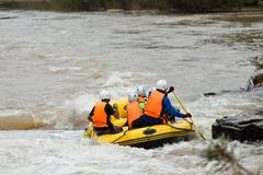 rafting in the river in north of thai - stock photo