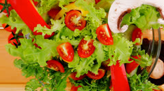 Vegetables salad on wood Stock Footage