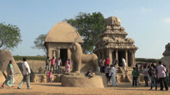 India Tamil Nadu Mahabalipuram Five Rathas people explore statue and shrine 7 Stock Footage