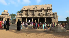 India Tamil Nadu Mahabalipuram Five Rathas children in front of temple 5 Stock Footage