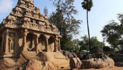 India Tamil Nadu Mahabalipuram Five Rathas layered roof and stone fence 4 Stock Footage