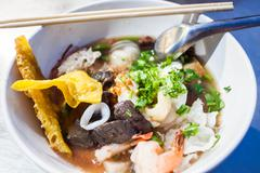 Thai noodle style with chinese bean curd Stock Photos