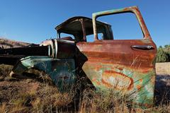 Rusty old pickup truck - stock photo