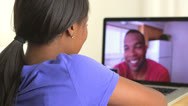 Stock Video Footage of Black couple having a video conference