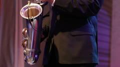 Dancing saxophonist Stock Footage