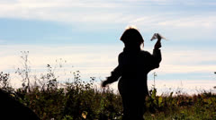 Boy with paper airplane,small pilot Stock Footage