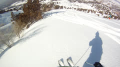 Downhill skiing Helmet Cam - stock footage