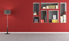 Red empty  living room with  bookcase Stock Illustration