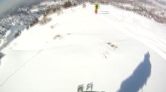 Downhill skiing Helmet Cam Stock Footage