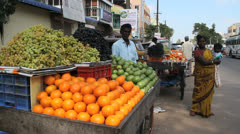 India Tamil Nadu Chidambaram mother in sari with fruit cart 2 Stock Footage