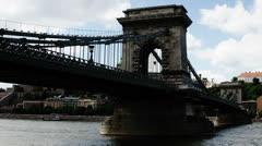 Chain Bridge Budapest Hungary Timelapse Daytime 8 Stock Footage