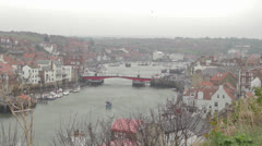 Whitby Harbour and draw bridge - stock footage