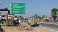 India Tamil Nadu Kumbakonam sign and parked truck 7 Stock Footage