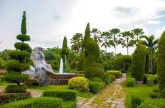 exotic botanical garden in the north of  thailand - stock photo