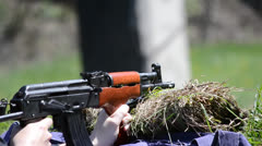 Firing AK 47 tight Stock Footage